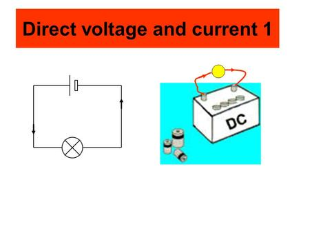Direct voltage and current 1. Alternating voltage and current 1 The alternating voltage may make an alternating current flow.