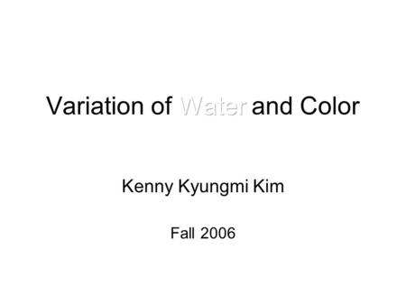 Kenny Kyungmi Kim Fall 2006. Concept This installation is based on Visual Music and Dadaism. Synaesthesia in Art and Music Since 1900. Dadas movement.