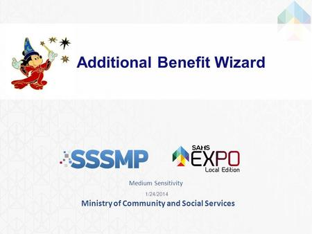 Ministry of Community and Social Services Additional Benefit Wizard 1/24/2014 Medium Sensitivity.