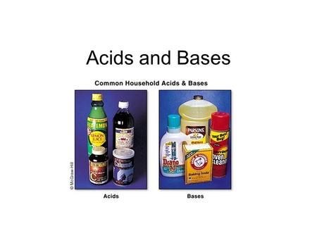 Acids and Bases. Acids Acid comes from the Latin word Acidus meaning sour. Most common components of acid is a donatable proton or hydrogen ion (H + ).
