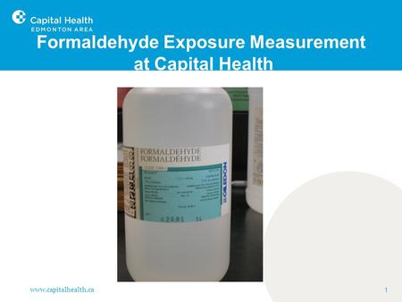 Formaldehyde Exposure Measurement at Capital Health