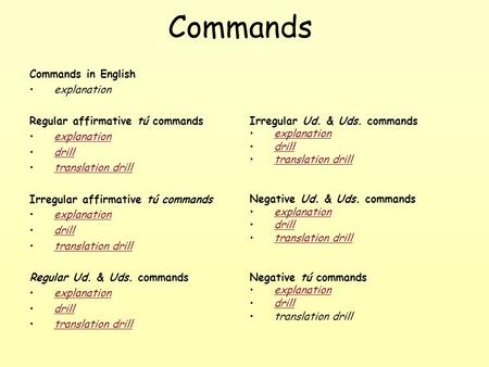 Commands Commands in English explanation Regular affirmative tú commands explanation drill translation drilltranslation drill Irregular affirmative tú
