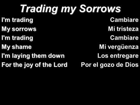 Trading my Sorrows I'm trading My sorrows My shame