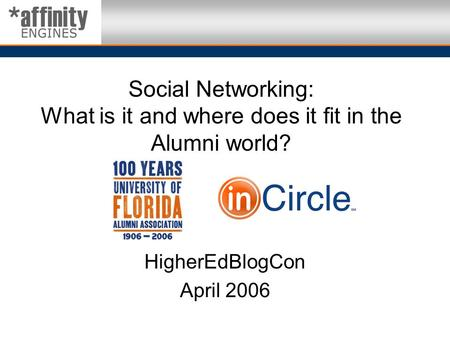 Social Networking: What is it and where does it fit in the Alumni world? HigherEdBlogCon April 2006.