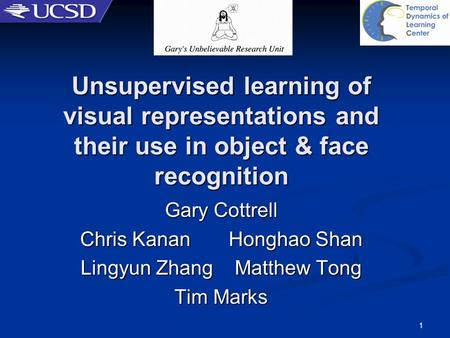 3/22/2017 Unsupervised learning of visual representations and their use in object & face recognition Gary Cottrell Chris Kanan Honghao Shan Lingyun.