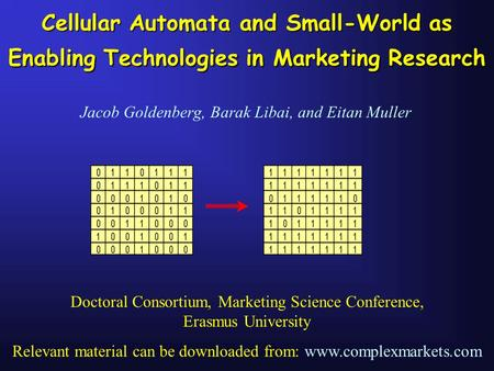 Cellular Automata and Small-World as Enabling Technologies in Marketing Research Jacob Goldenberg, Barak Libai, and Eitan Muller Doctoral Consortium, Marketing.
