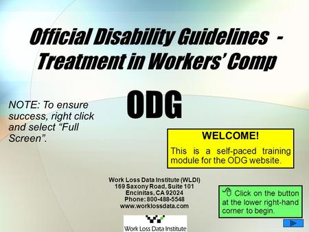 Official Disability Guidelines - Treatment in Workers' Comp ODG