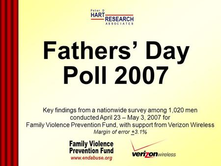 Fathers Day Poll 2007 HART RESEARCH P e t e r D ASSOTESCIA www.endabuse.org Key findings from a nationwide survey among 1,020 men conducted April 23 –