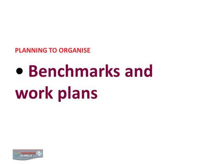 BENCHMARKS AND WORK PLANS PLANNING TO ORGANISE Benchmarks and work plans 0.