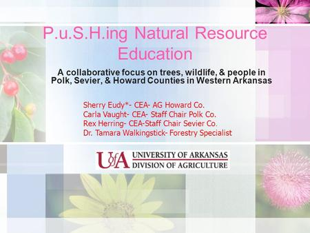 P.u.S.H.ing Natural Resource Education A collaborative focus on trees, wildlife, & people in Polk, Sevier, & Howard Counties in Western Arkansas Sherry.