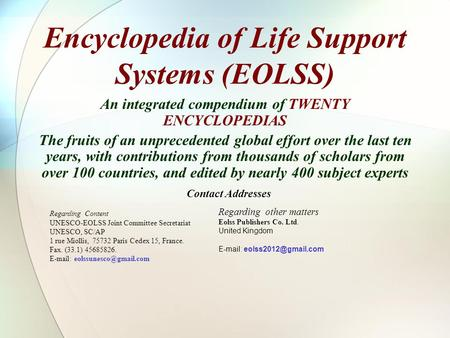 Encyclopedia of Life Support Systems (EOLSS)
