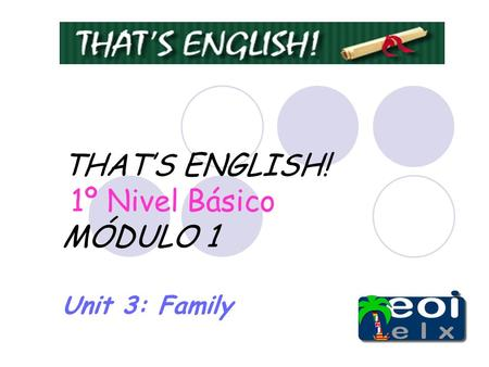 THATS ENGLISH! 1º Nivel Básico MÓDULO 1 Unit 3: Family.
