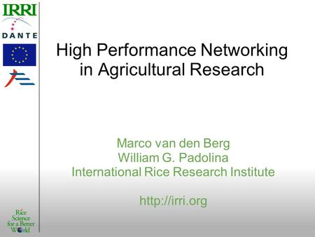 High Performance Networking in Agricultural Research