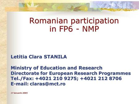 Romanian participation in FP6 - NMP