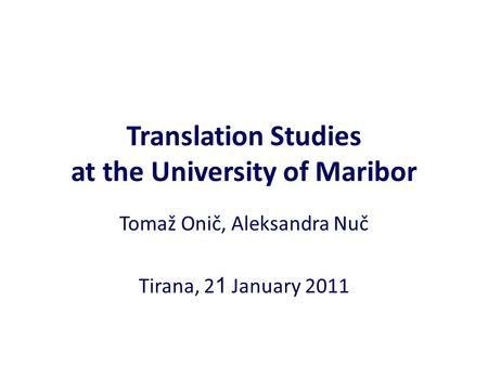 Translation Studies at the University of Maribor