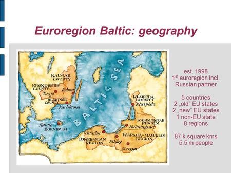 Euroregion Baltic: geography est. 1998 1 st euroregion incl. Russian partner 5 countries 2 old EU states 2 new EU states 1 non-EU state 8 regions 87 k.