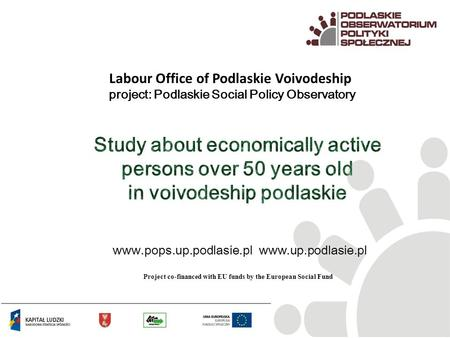 Labour Office of Podlaskie Voivodeship project: Podlaskie Social Policy Observatory www.pops.up.podlasie.pl www.up.podlasie.pl Project co-financed with.