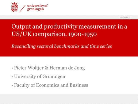Output and productivity measurement in a US/UK comparison,