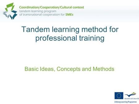Tandem learning method for professional training Basic Ideas, Concepts and Methods.