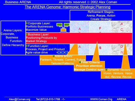 -1-  Business ARENAAll rights reserved 2002 Alex Coman The ARENA Genome: Harmonic Strategic Planning.