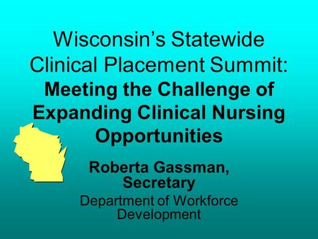 Wisconsins Statewide Clinical Placement Summit: Meeting the Challenge of Expanding Clinical Nursing Opportunities Roberta Gassman, Secretary Department.
