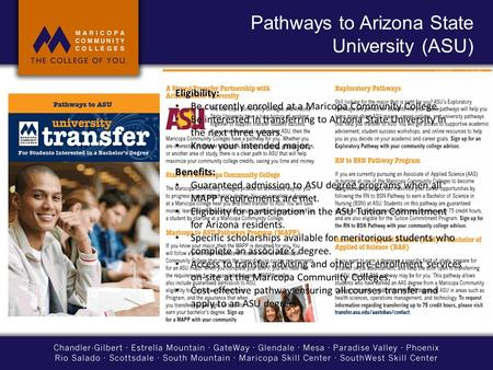 Pathways to Arizona State University (ASU)