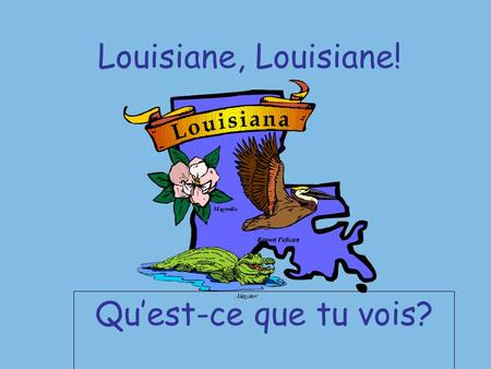 Louisiane, Louisiane! Quest-ce que tu vois?. Je vois le PÉLICAN qui me regarde.