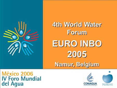 Local Actions for a Global Challenge 4th World Water Forum EURO INBO 2005 Namur, Belgium 4th World Water Forum EURO INBO 2005 Namur, Belgium.