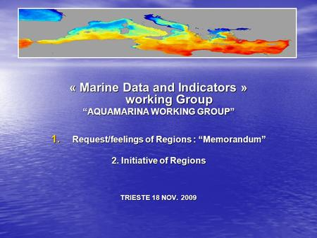 « Marine Data and Indicators » working Group AQUAMARINA WORKING GROUP 1. Request/feelings of Regions : Memorandum 2. Initiative of Regions TRIESTE 18 NOV.