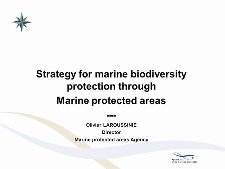 Strategy for marine biodiversity protection through Marine protected areas --- Olivier LAROUSSINIE Director Marine protected areas Agency.