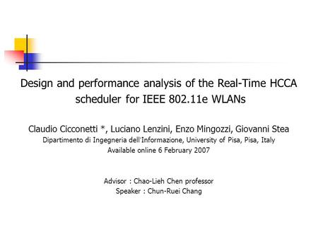 Design and performance analysis of the Real-Time HCCA