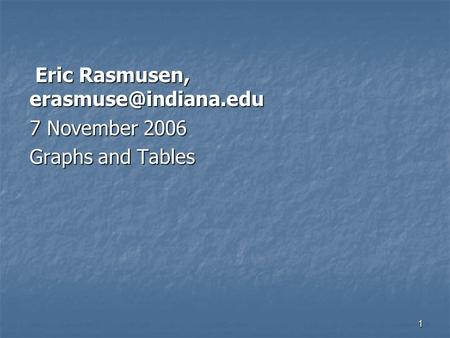 1 Eric Rasmusen, Eric Rasmusen, 7 November 2006 Graphs and Tables.
