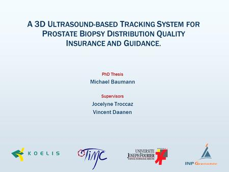 A 3D U LTRASOUND-BASED T RACKING S YSTEM FOR P ROSTATE B IOPSY D ISTRIBUTION Q UALITY I NSURANCE AND G UIDANCE. PhD Thesis Michael Baumann Supervisors.