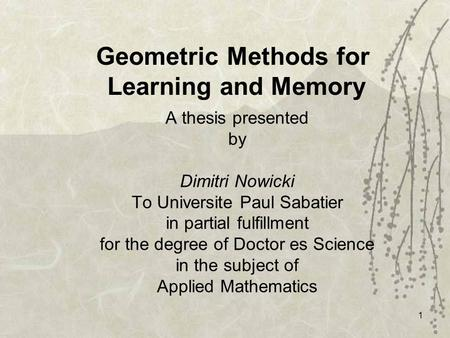 1 Geometric Methods for Learning and Memory A thesis presented by Dimitri Nowicki To Universite Paul Sabatier in partial fulfillment for the degree of.
