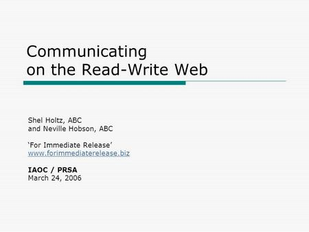 Communicating on the Read-Write Web