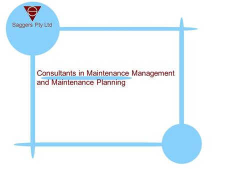 Consultants in Maintenance Management and Maintenance Planning
