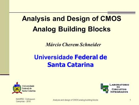 Analysis and Design of CMOS Analog Building Blocks