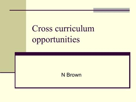 Cross curriculum opportunities N Brown. The New Secondary Curriculum Best practice Joined up thinking.. joined up learning Skills Do what is right for.