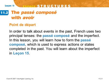 Point de départ In order to talk about events in the past, French uses two principal tenses: the passé composé and the imperfect. In this lesson, you will.