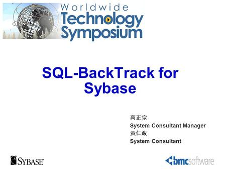 SQL-BackTrack for Sybase System Consultant Manager System Consultant.