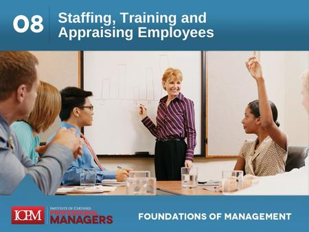 Learning Objectives 8.1 Discuss the managers role in human resource management as it regards staffing, training, and employee performance appraisal. 8.2.