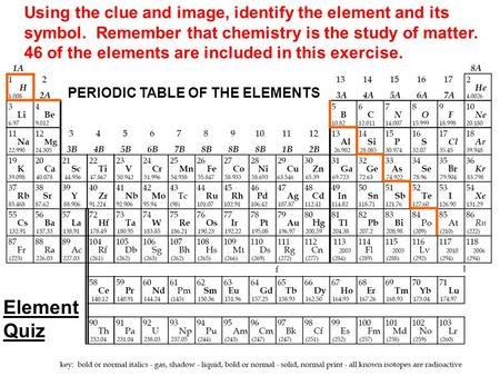 Using the clue and image, identify the element and its symbol. Remember that chemistry is the study of matter. 46 of the elements are included in this.