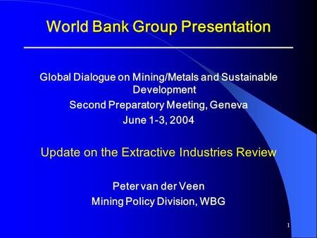 World Bank Group Presentation
