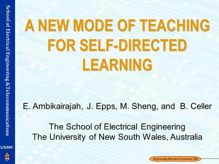 A NEW MODE OF TEACHING FOR SELF-DIRECTED LEARNING