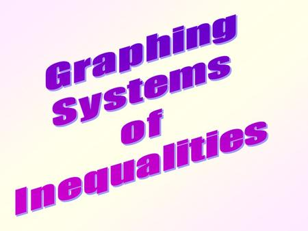 Graphing Systems of Inequalities.