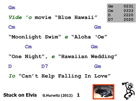 Gm Vide o movie Blue Hawaii Cm Gm Moonlight Swim e Aloha Oe Cm Gm One Night, e Hawaiian Wedding D D7 Gm Io Cant Help Falling In Love Gm0231 Cm0333 D2220.