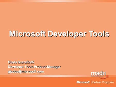 Giada Scarafiotti Developer Tools Product Manager Microsoft Developer Tools.