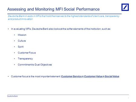 Assessing and Monitoring MFI Social Performance