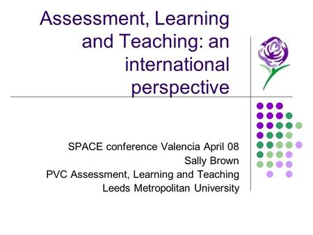 Assessment, Learning and Teaching: an international perspective SPACE conference Valencia April 08 Sally Brown PVC Assessment, Learning and Teaching Leeds.