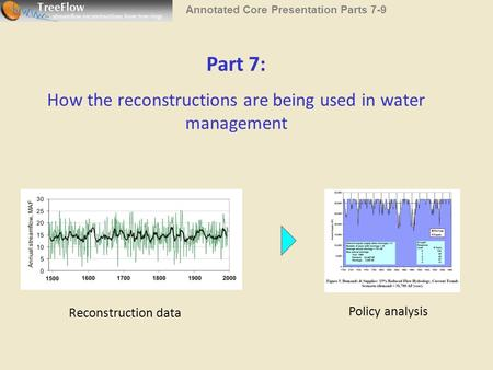Part 7: How the reconstructions are being used in water management Reconstruction data Policy analysis Annotated Core Presentation Parts 7-9.